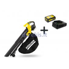 KOMPLEKTAS: Akumuliatorinis lapų pūstuvas ir siurblys Karcher BLV 18-200 Battery + Greito įkroviklio ir baterijos komplektas Karcher 18/25, 9.791-566.0