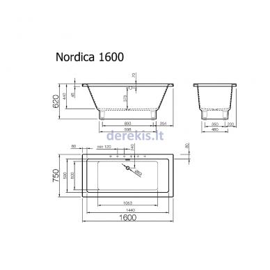 Akmens masės vonia Vispool Nordica 160X75 (su paslėptomis kojelėmis) 3