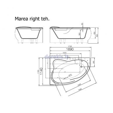 Akmens masės vonia Vispool Marea 170X110, 111010(dešinė) 3