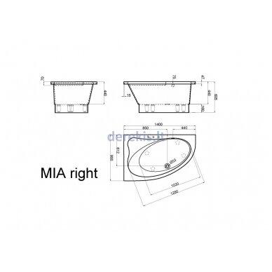 Akmens masės vonia Vispool Mia, 411010 140X90 (dešinė) 3