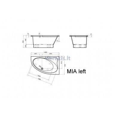 Akmens masės vonia Vispool Mia, 421010 140X90 (kairė) 3