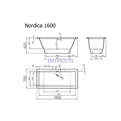 Akmens masės vonia Vispool Nordica 160X75 (su matomomis kojelėmis) 2