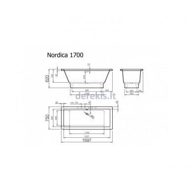 Akmens masės vonia Vispool Nordica 170X75, N010121K (su matomomis kojelėmis) 2