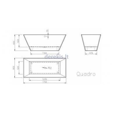 Akmens masės vonia Vispool QUADRO 175X80, 3001109 4