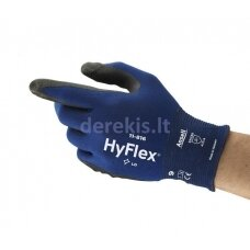 Apsauginės pirštinės Ansell HyFlex 11-816, 10 dydis,  itin plonos, nailonas, spandex. Nitrilo putų delno padengimas