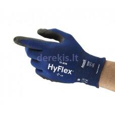 Apsauginės pirštinės Ansell HyFlex 11-816, 8 dydis,  itin plonos, nailonas, spandex. Nitrilo putų delno padengimas