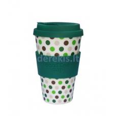 Bambuko puodelis Ecoffee cup Green Polka, 400 ml