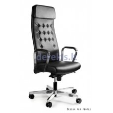 Biuro kėdė Unique ARES S629-HL, natural leather: black, white