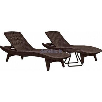 Du gultai + staliukas Keter PACIFIC 231463 ruda