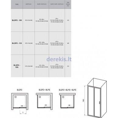 Dušo durys Ravak BLDP2-120 blizgi+stiklas Transparent 0PVG0C00Z1 5