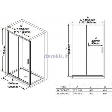 Dušo durys Ravak BLSDP2-100 blizgus +Transparent X0PMA0C00Z1 2