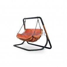Dvivietis supamas krėslas su stovu (rausvai rudos spalvos) 4IQ