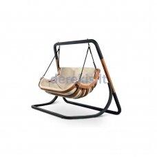 Dvivietis supamas krėslas su stovu (smėlio spalvos) 4IQ