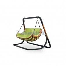 Dvivietis supamas krėslas su stovu (žalias) 4IQ