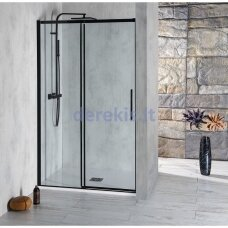 Juodos dušo durys į nišą Altis Line Black 140cm,  AL4112B