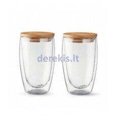 Kavos stiklinės su dangteliais (2vnt.) 450ml. L19012