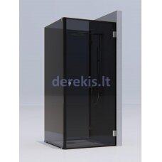 Kvadratinė dušo kabina erdvėje ( 2 stacionarūs stiklas + 1 durys) KAME Pilkas / juoda / 1322R