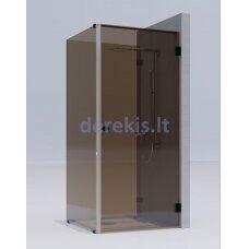 Kvadratinė dušo kabina erdvėje ( 2 stacionarūs stiklas + 1 durys) KAME Rudas / chromas / 1331R