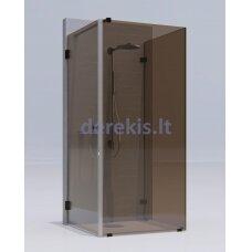 Kvadratinė dušo kabina erdvėje ( 2 stacionarūs stiklas + 1 durys) KAME Rudas / juoda / 1332L