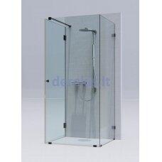 Kvadratinė dušo kabina erdvėje ( 2 stacionarūs stiklas + 1 durys) KAME Skaidrus / chromas / 1311L