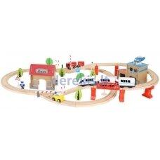 Medinė traukinio trasa su elektriniu traukiniu, 88 vnt. rinkinys