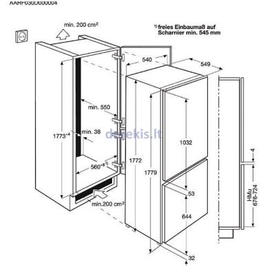 Montuojamas šaldytuvas su šaldikliu ELECTROLUX ENN2812AOW 3