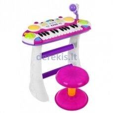 Muzikinė klaviatūra su mikrofonu violetinė