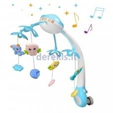 Naktinė lempa ir lovelės varpeliai kūdikiams mėlyna