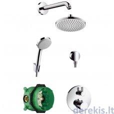 Potinkinė dušo sistema su termostatiniu maišytuvu Hansgrohe Croma 160, 26473000