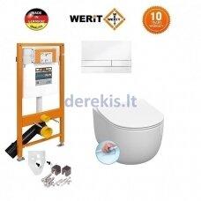 Potinkinis WC komplektas WERIT + Kerasan FLO NO RIMLESS 174-91100900-00+311101+319101