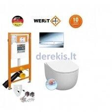 Potinkinis WC komplektas WERIT + Kerasan FLO NO RIMLESS 174-91101300-00+311101+319101