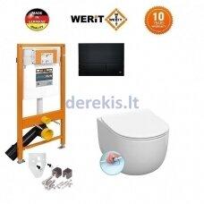 Potinkinis WC komplektas WERIT + Kerasan FLO NO RIMLESS 174-91102500-00+311101+319101