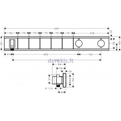 Potinkinis termostatinis maišytuvas Hansgrohe RainSelect 15358400 2