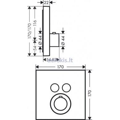 Potinkinis termostatinis maišytuvas Hansgrohe AXOR 36715000 2
