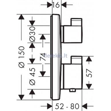Potinkinis termostatinis maišytuvas Hansgrohe Ecostat S 15757000 3
