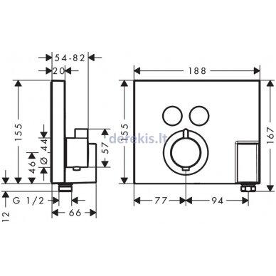 Potinkinis termostatinis maišytuvas Hansgrohe ShowerSelect 15765000 2