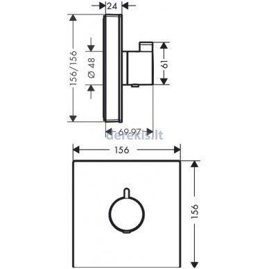 Potinkinis termostatinis maišytuvas Hansgrohe ShowerSelect Glass 15734400 2