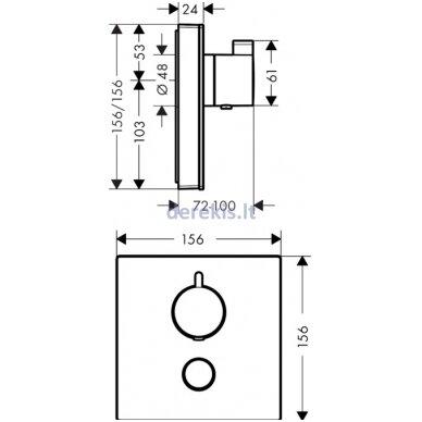 Potinkinis termostatinis maišytuvas Hansgrohe ShowerSelect Glass 15735600 2