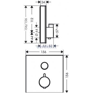 Potinkinis termostatinis maišytuvas Hansgrohe ShowerSelect Glass 15737600 2