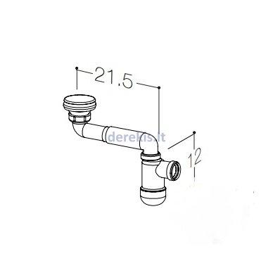 Praustuvo sifonas Kame AC1412 su dugno vožtuvu, baltas