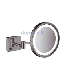 Skutimosi veidrodis su LED lempute Hansgrohe AddStoris, Brushed Black Chrome, 41790340