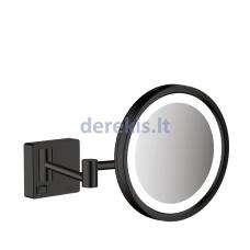 Skutimosi veidrodis su LED lempute Hansgrohe AddStoris, juodas matinis, 41790670