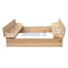 Smėlio dėžė Dobar KC11360, su suoliukais ir dangčiu, 118 x 118 x 20 cm