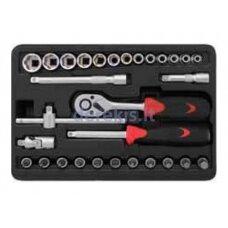 Sukimo įrankių rinkinys Forte Tools 217006/218008, 30 vnt.