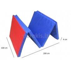 Sulankstomas gimnastikos čiužinys SANRO 200x100x4cm, mėlyna-raudona