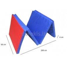 Sulankstomas gimnastikos čiužinys SANRO 200x60x4cm, mėlyna-raudona