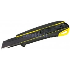 Sustiprintas gumuotas peilis laužomomis 18mm juodosiomis geležtėmis Tajima