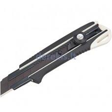 Sustiprintas gumuotas peilis laužomomis 25mm geležtėmis, fiksuojasi ratuko pagalba Tajima DORA Black blade