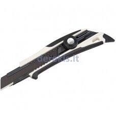 Sustiprintas gumuotas peilis su 18mm geležte, fiksuojasi ratuko pagalba,Tajima Dora