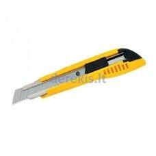 Sustiprintas plastikinis peiliukas laužomomis 18mm geležtėmis Tajima Heavy duty, įvairių spalvų
